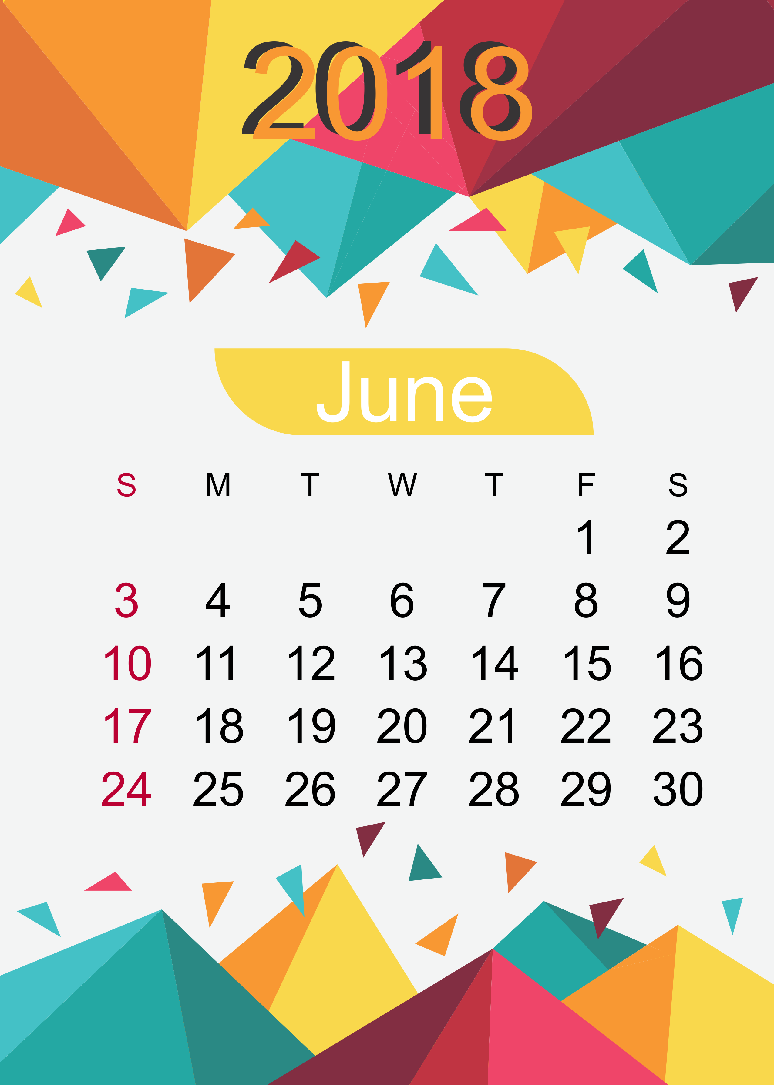 June Calendar Download 2018 Month