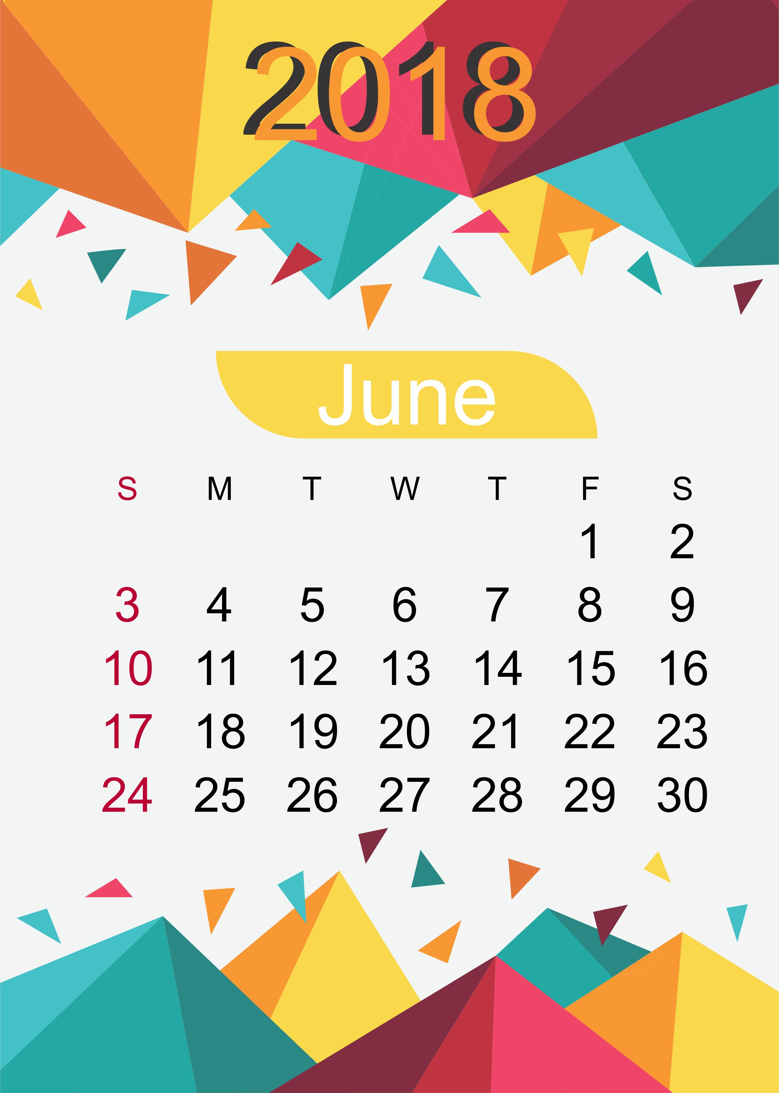June Calendar Download 2018 Month