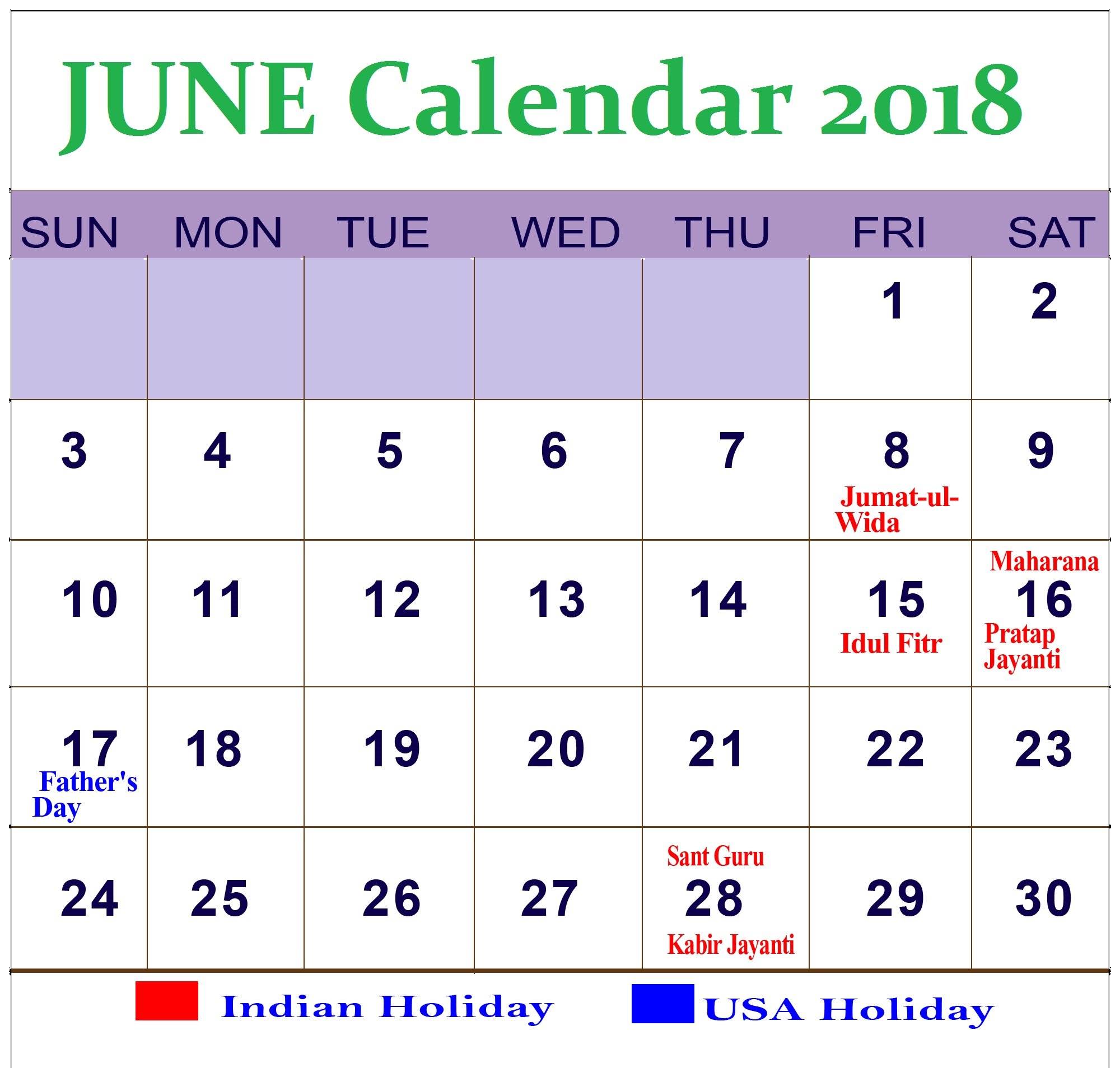 June Calendar Download 2018