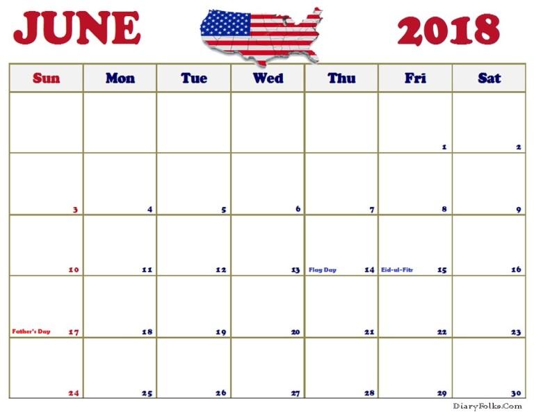 June Calendar USA 2018