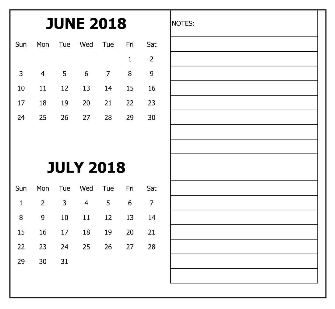 June July 2018 Calendar Download