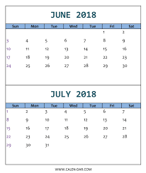 June July 2018 Calendar Printable