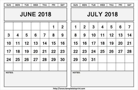 June July 2018 Calendar with Notes