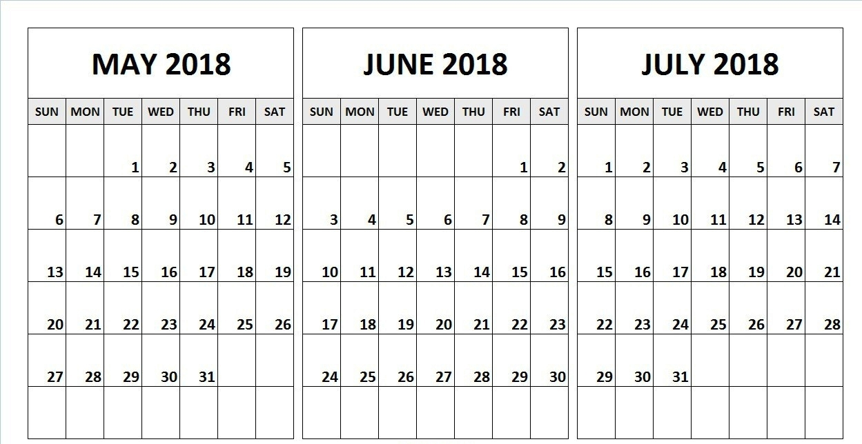 June July August 2018 Blank Calendar