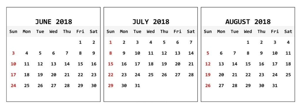 June July August 2018 Calendar Download