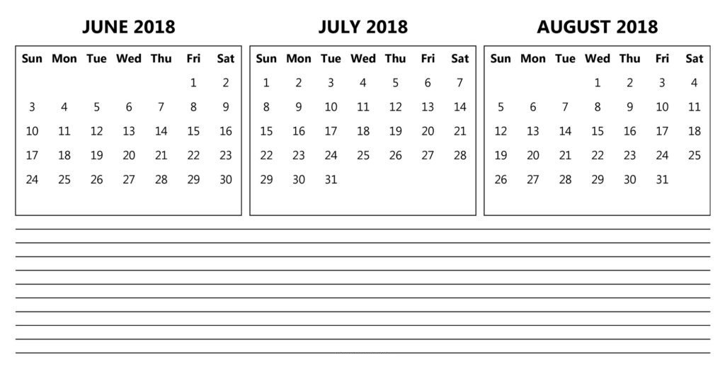 June July August 2018 Calendar Template