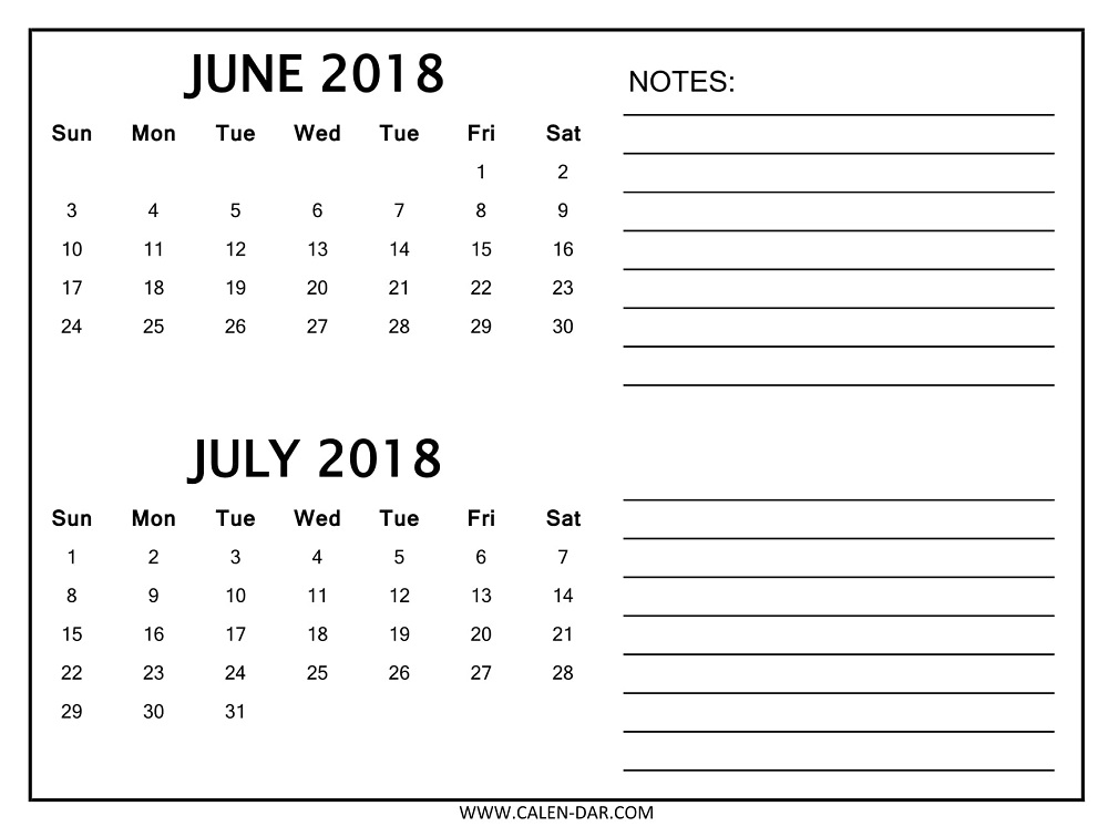 June July Calendar 2018 with Notes