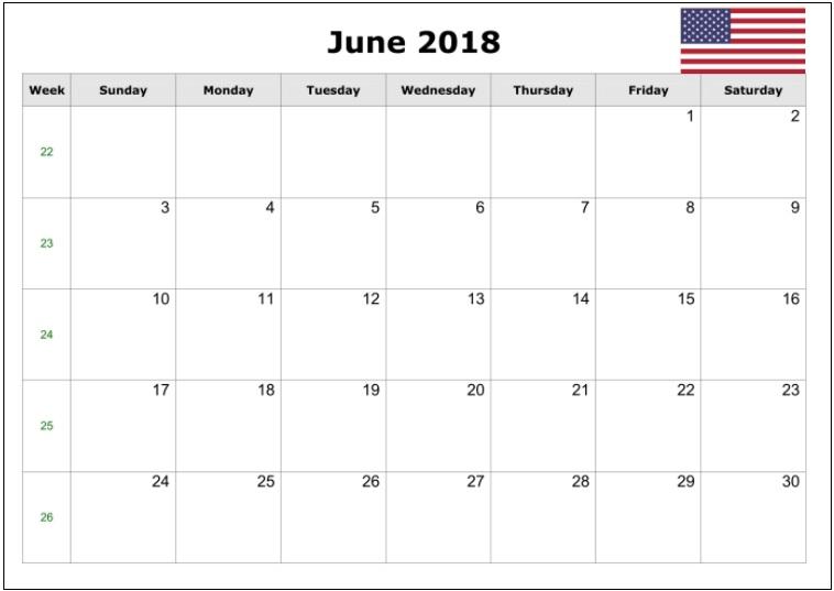 June Monthly Calendar 2018 Free Download