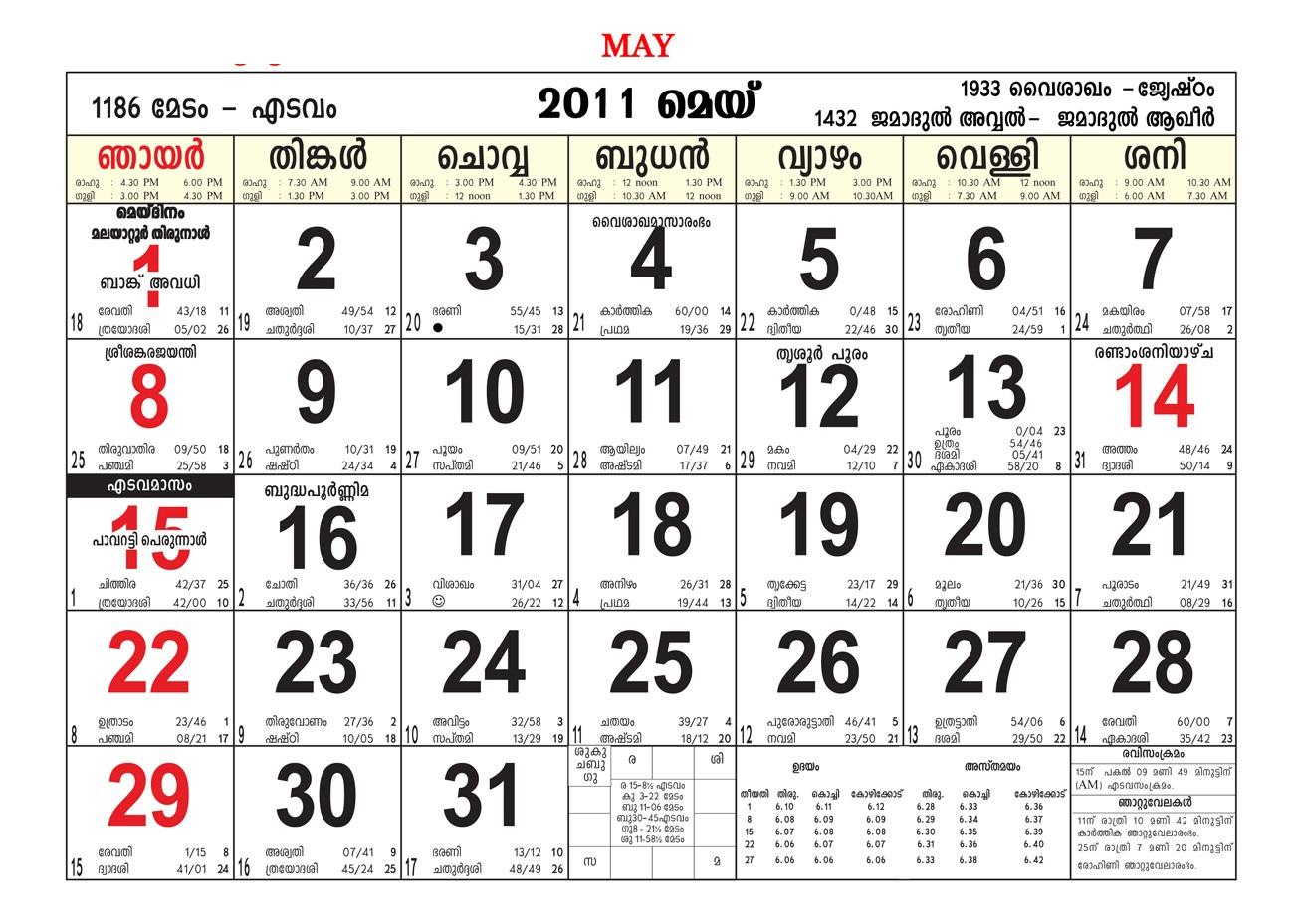 Malayalam Calendar May 2018 Kerala