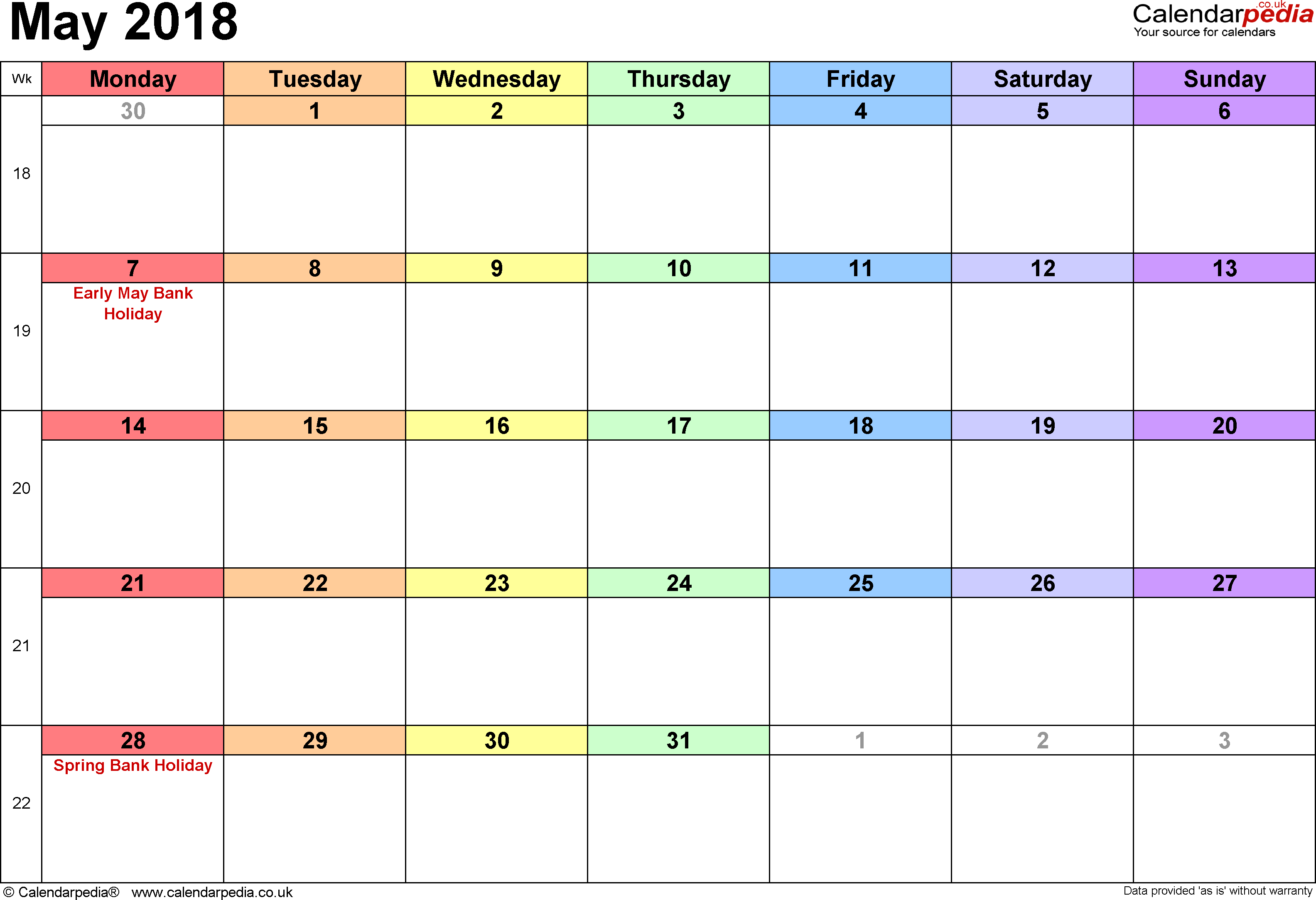 Malayasia Calendar May 2018