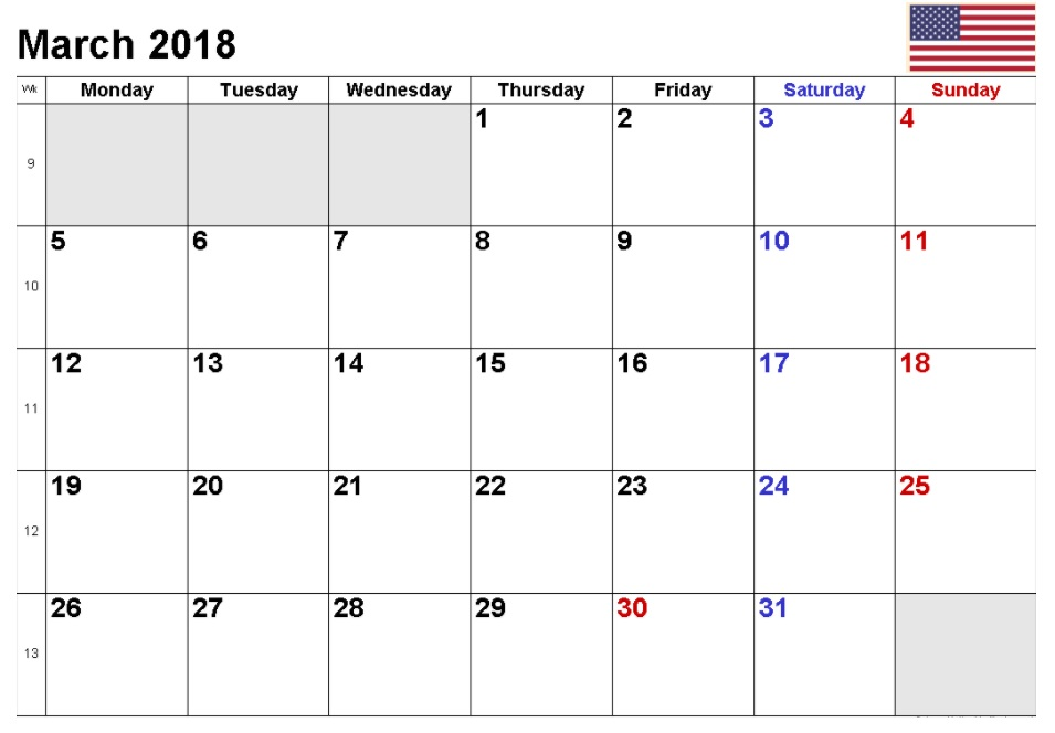 March 2018 Holiday Calendar
