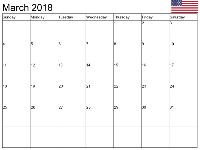 March 2018 USA Holiday Calendar