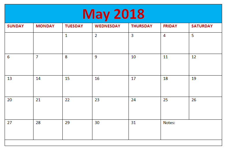 May 2018 Blank Calendar Landscape