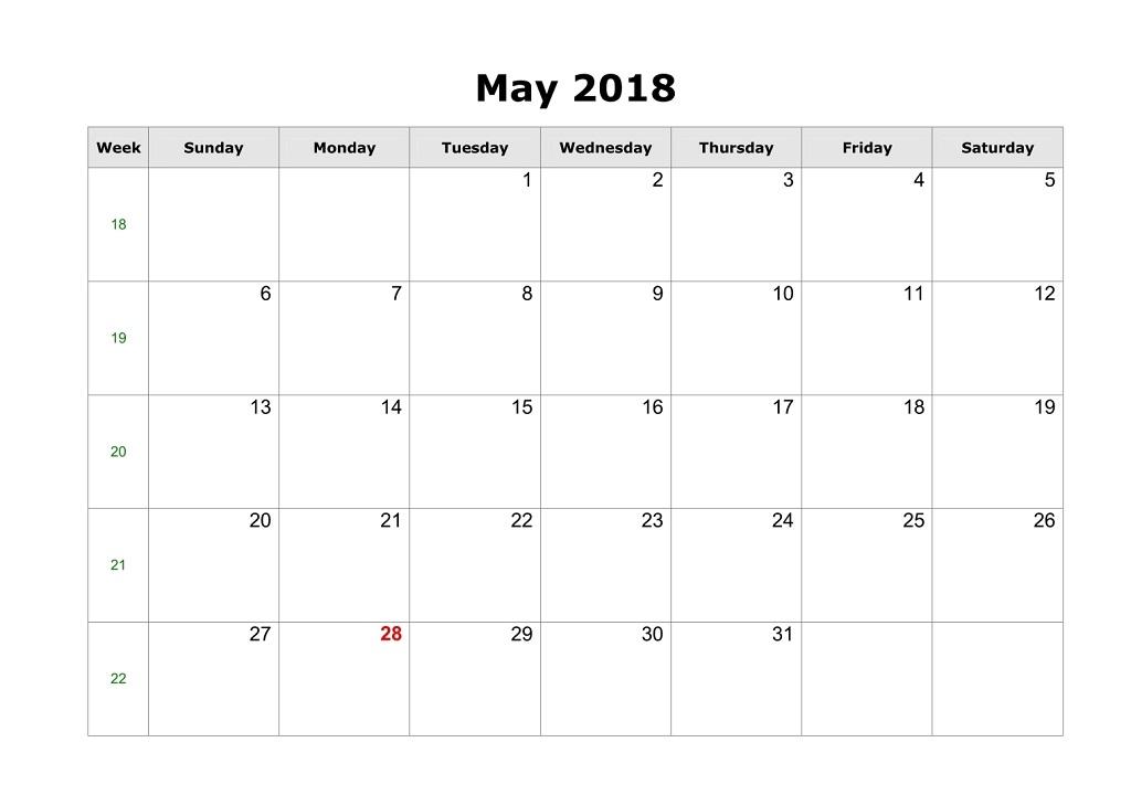 May 2018 Blank Calendar PDF