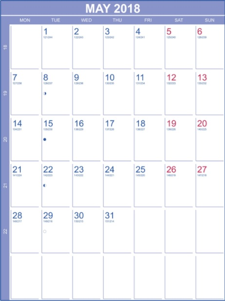 May 2018 Blank Calendar Portrait Template