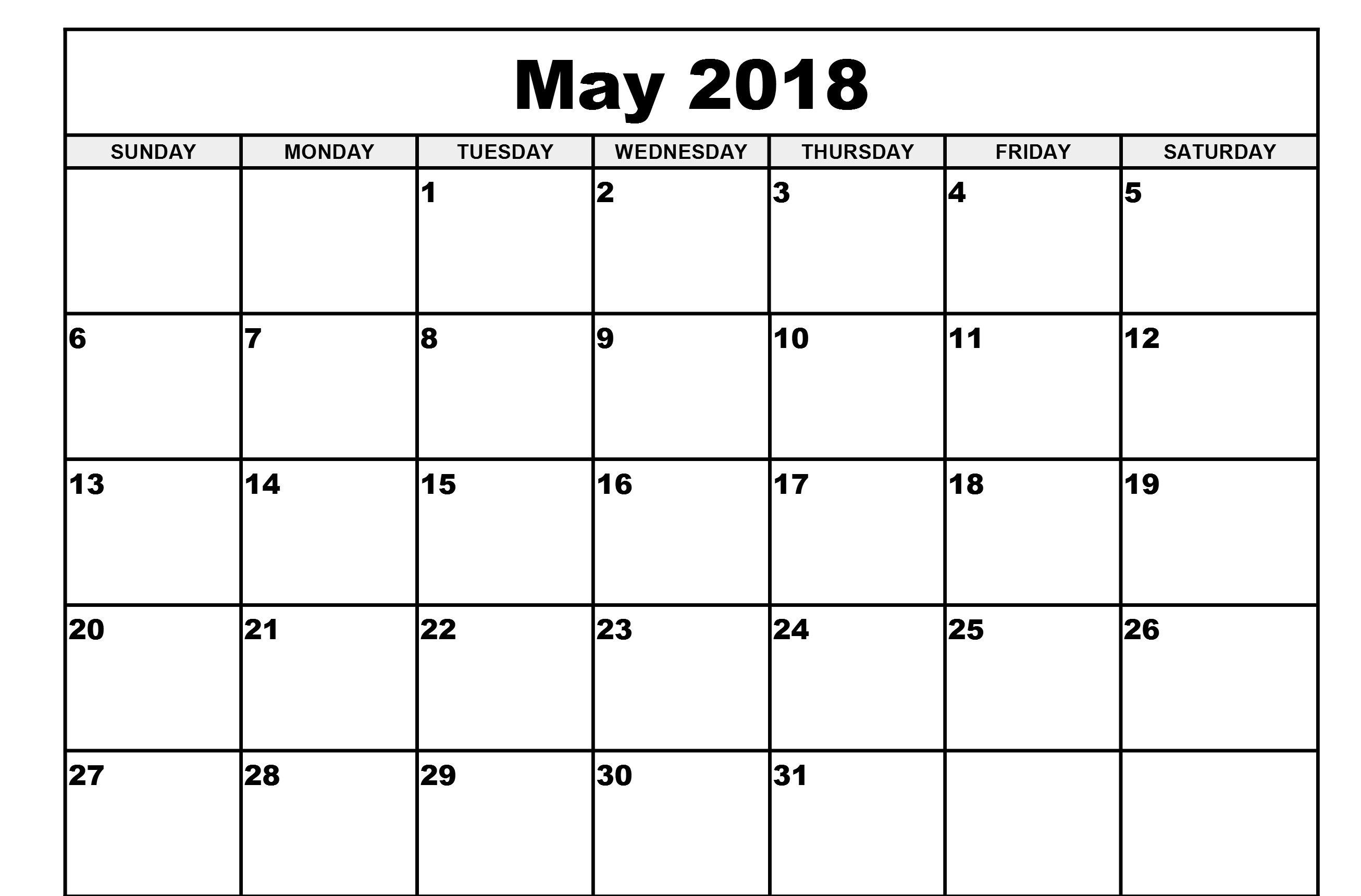 May 2018 Blank Calendar Word