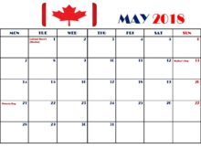 May 2018 Calendar Canada