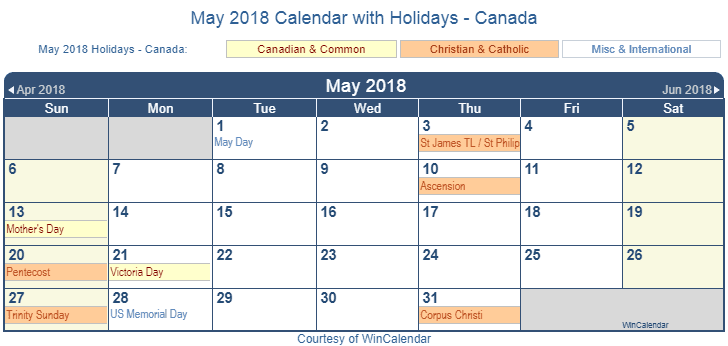 May 2018 Calendar Canada Holidays