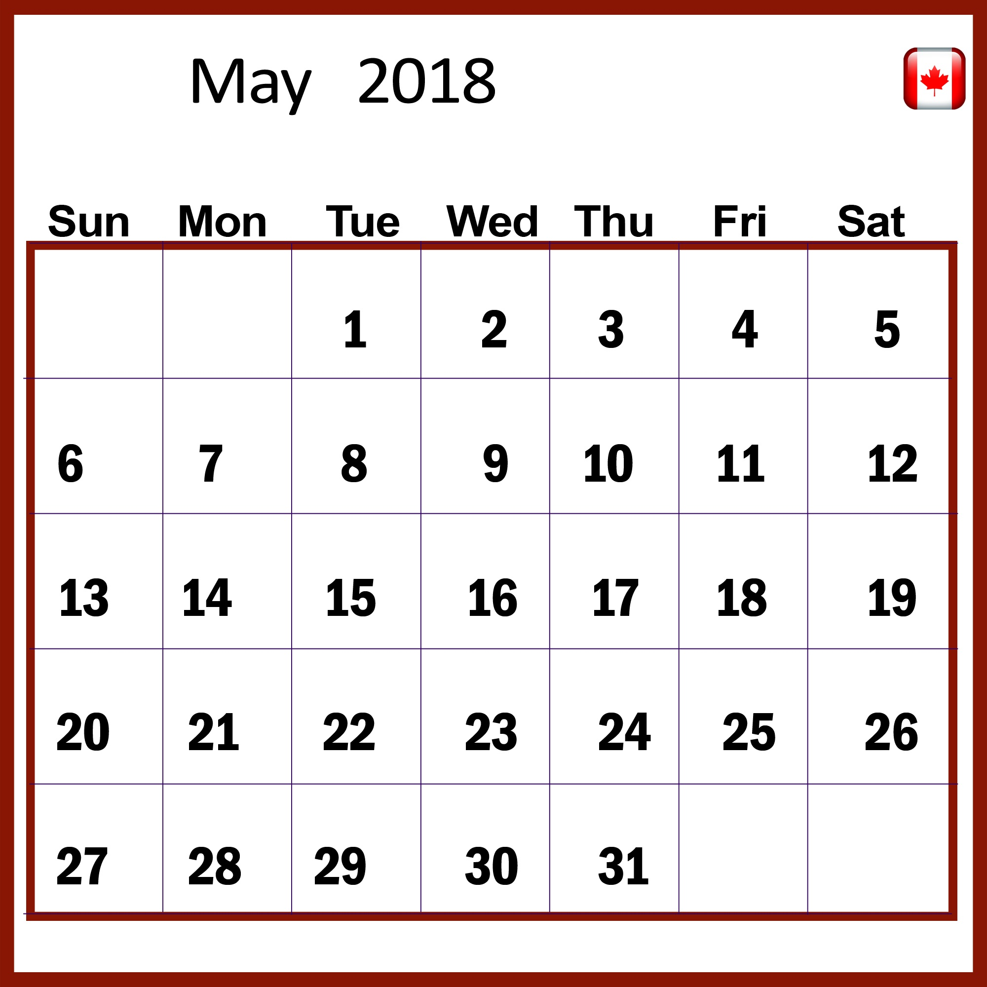 May 2018 Calendar Canada Public National Bank Holidays