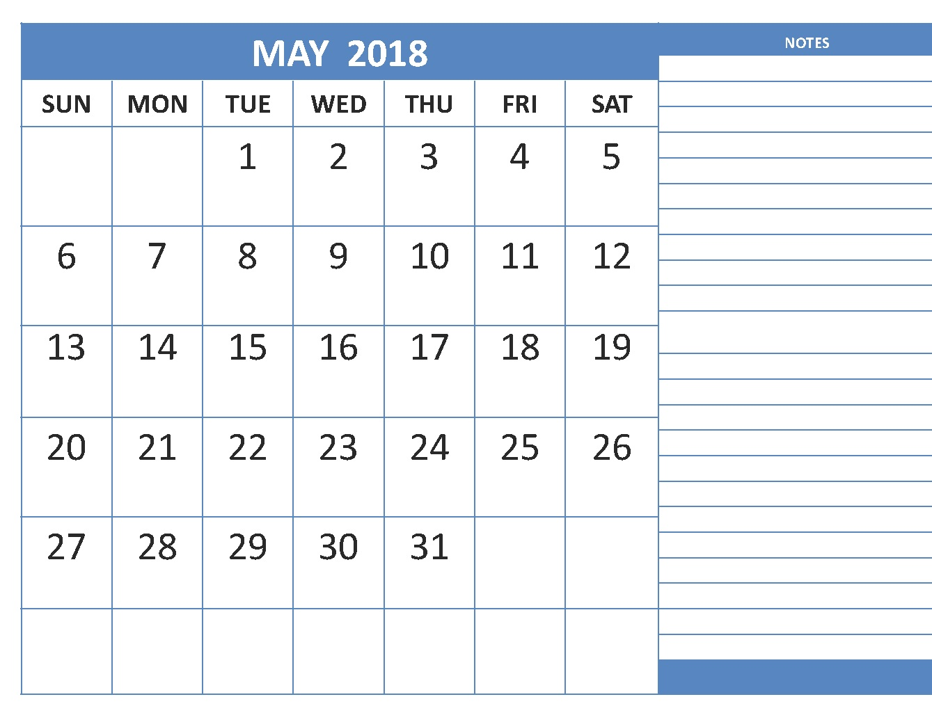 May 2018 Calendar Excel Notes