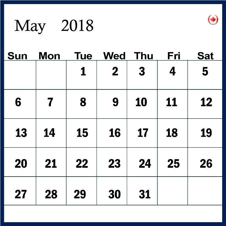 May 2018 Calendar Excel PDF