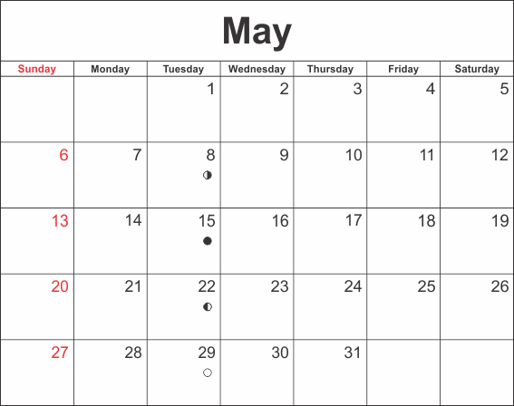 May 2018 Calendar Excel Sheet