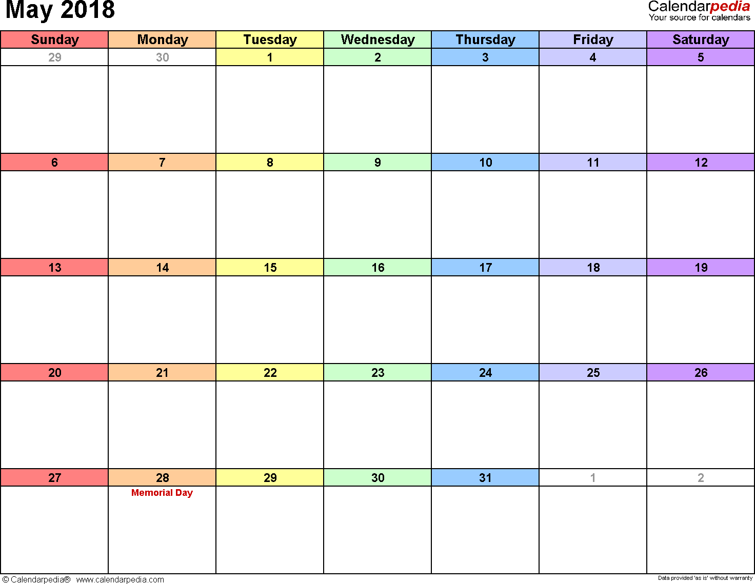 May 2018 Calendar Excel Template