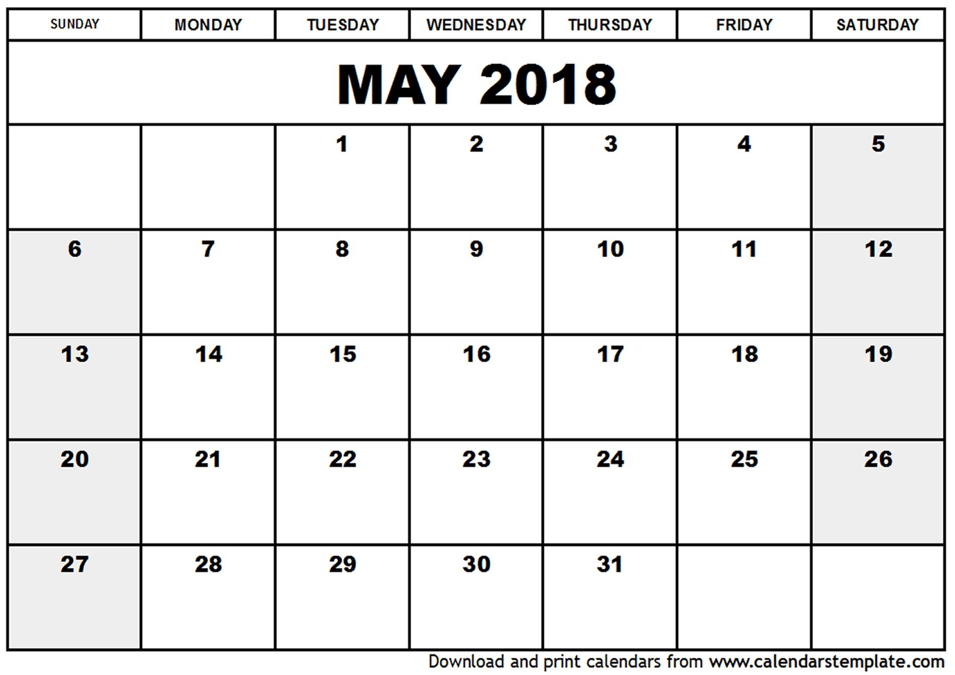 May 2018 Calendar Excel