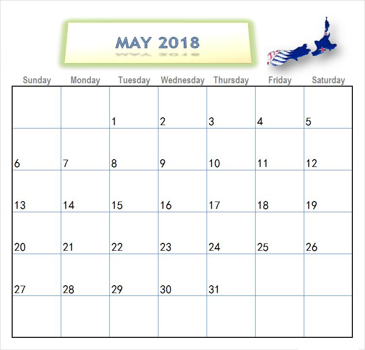 May 2018 Calendar For Nz