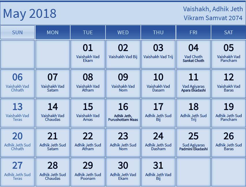 May 2018 Calendar Hindu Panchang