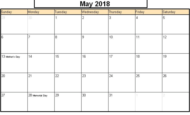 May 2018 Calendar Malayalam Printable