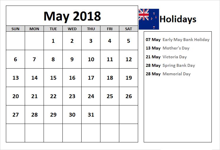 May 2018 Calendar Nz Holidays List