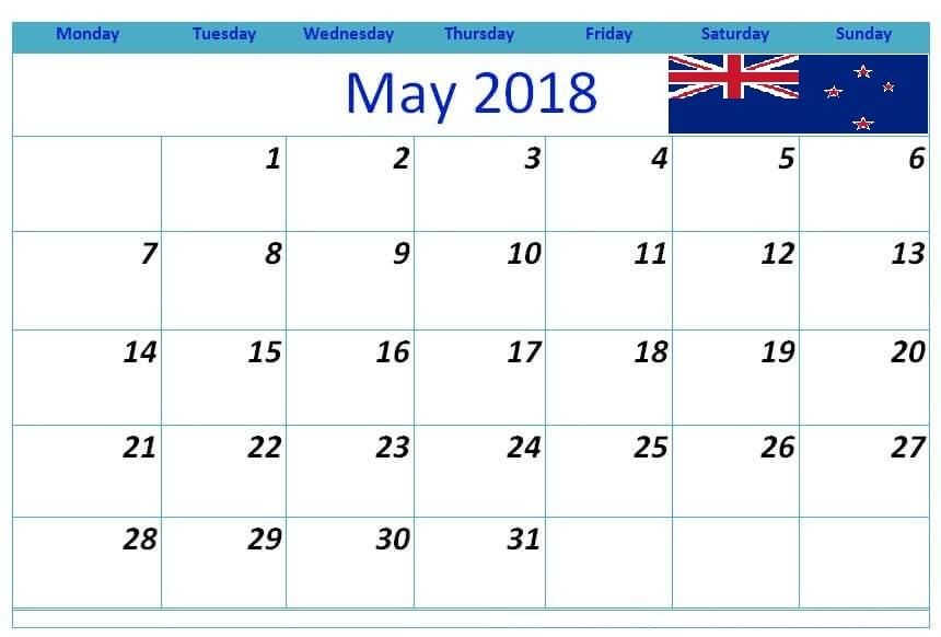 May 2018 Calendar Nz Template