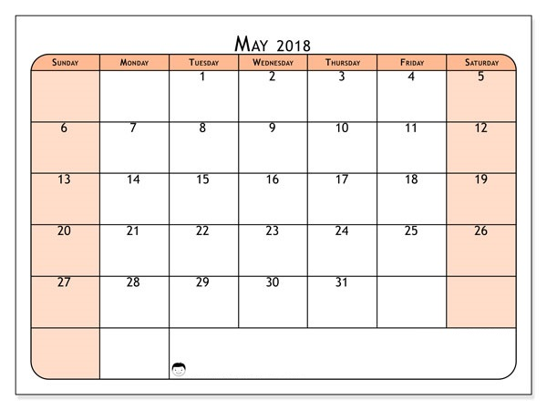May 2018 Calendar Page Editable