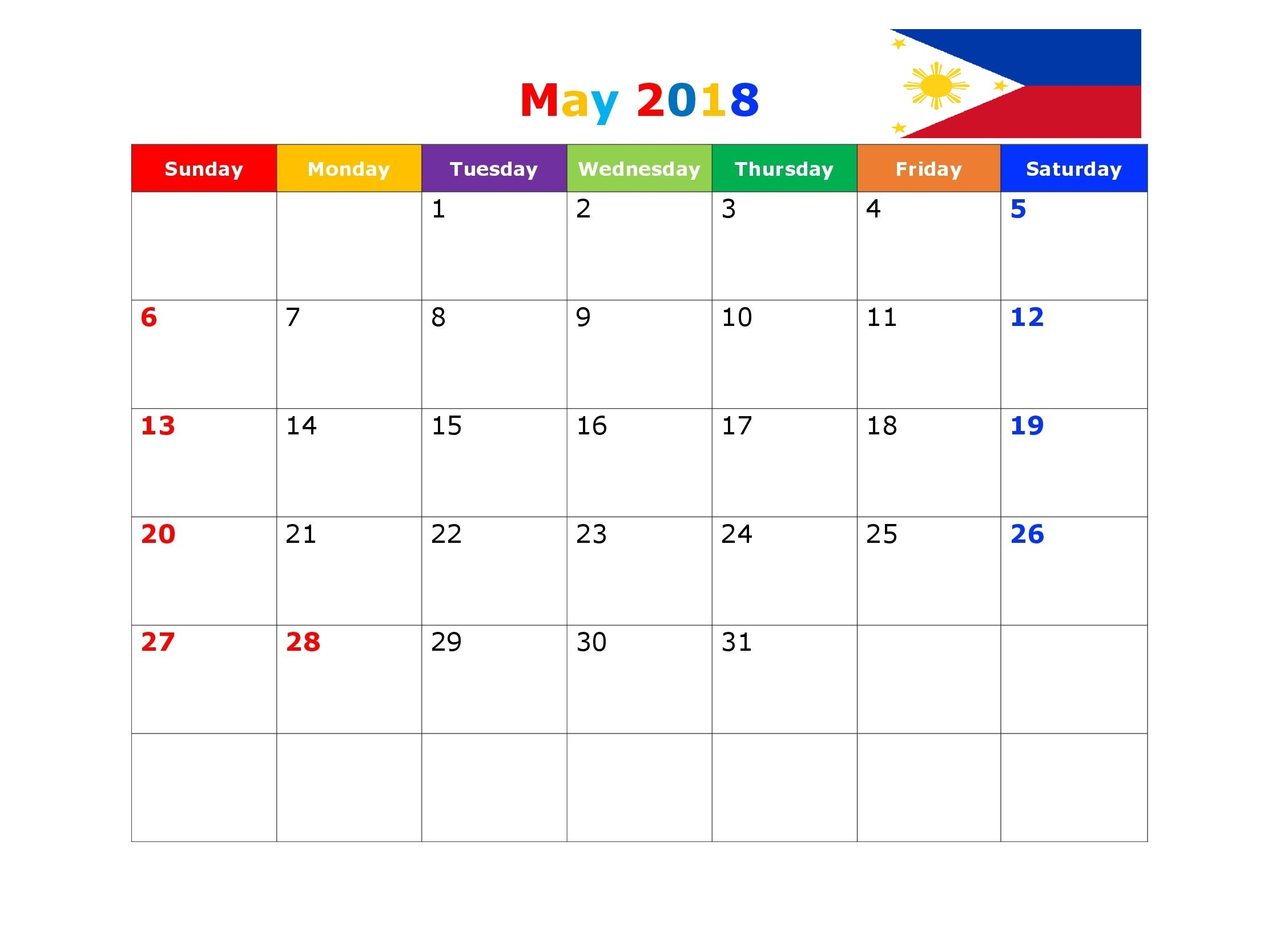 May 2018 Calendar Philippines Holidays