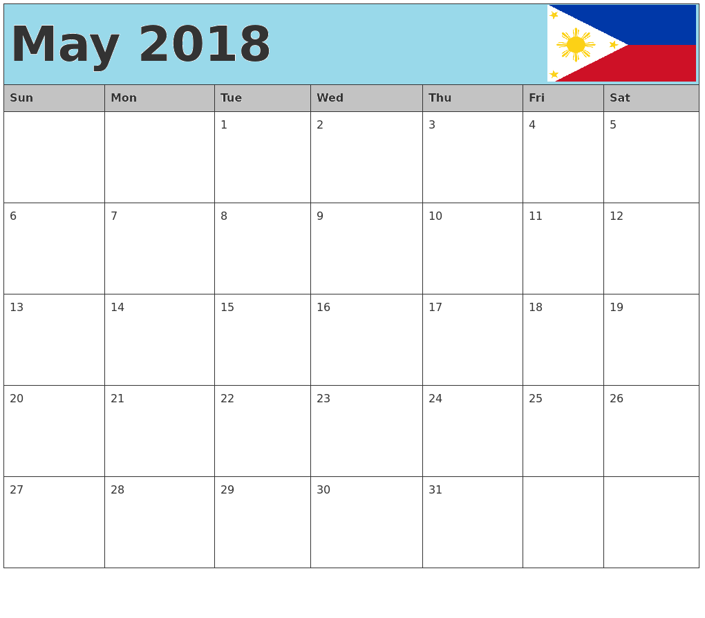 May 2018 Calendar Philippines Public Holidays