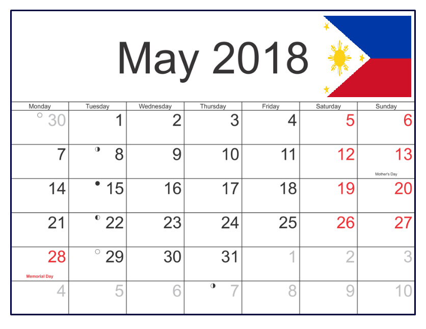 May 2018 Calendar Philippines