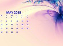 May 2018 Calendar Pink Template