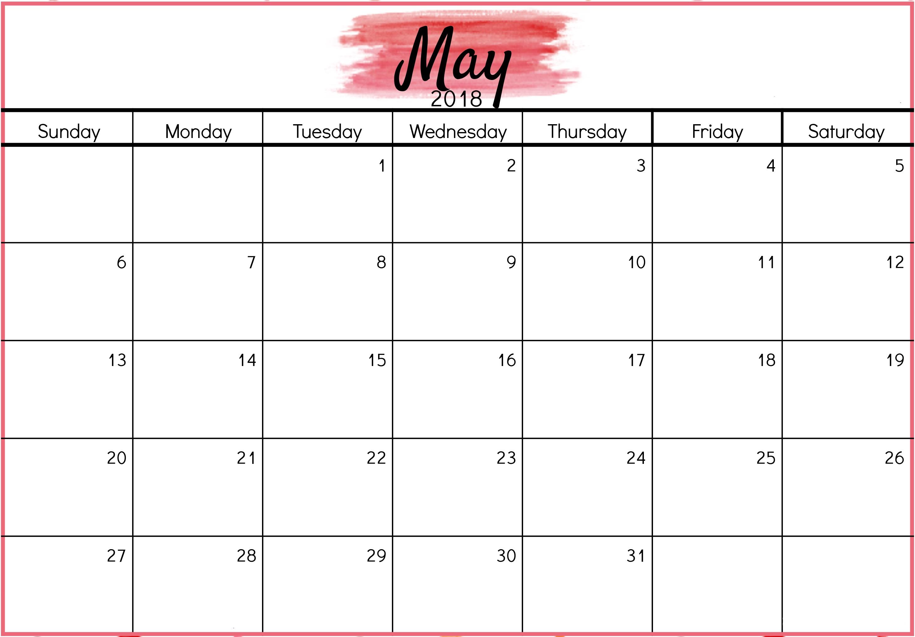 May 2018 Calendar Pink