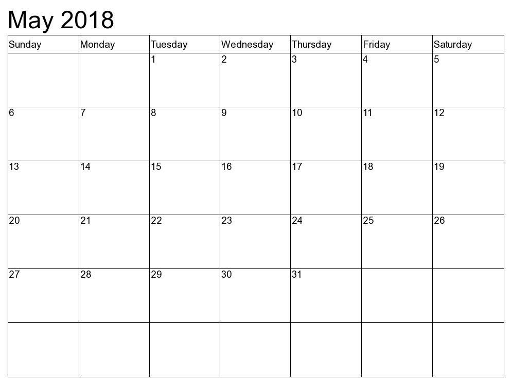 May 2018 Calendar Singapore