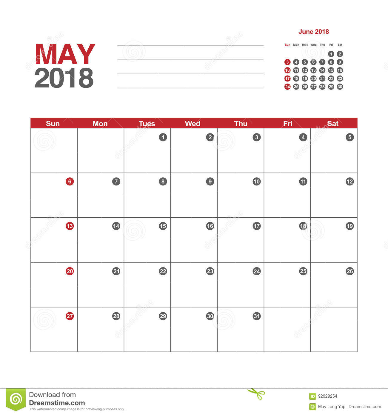 May 2018 Calendar South Africa with Notes