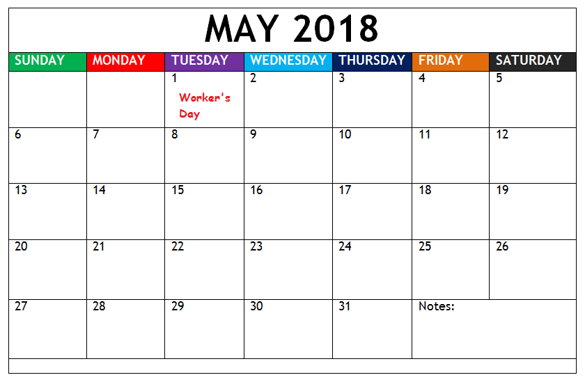 May 2018 Calendar South Africa