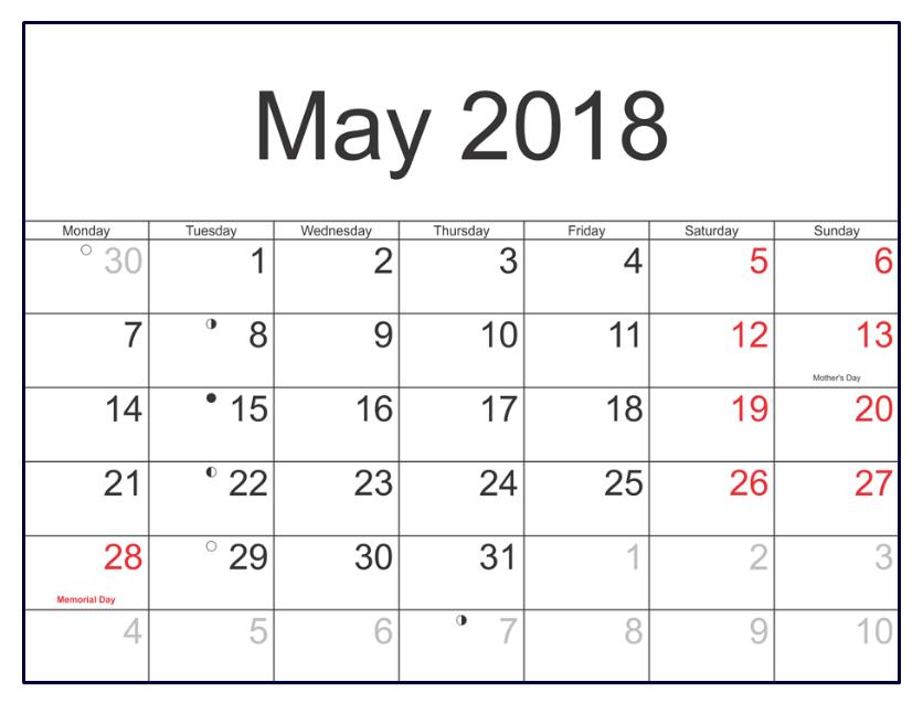 May 2018 Calendar Tumblr PDF