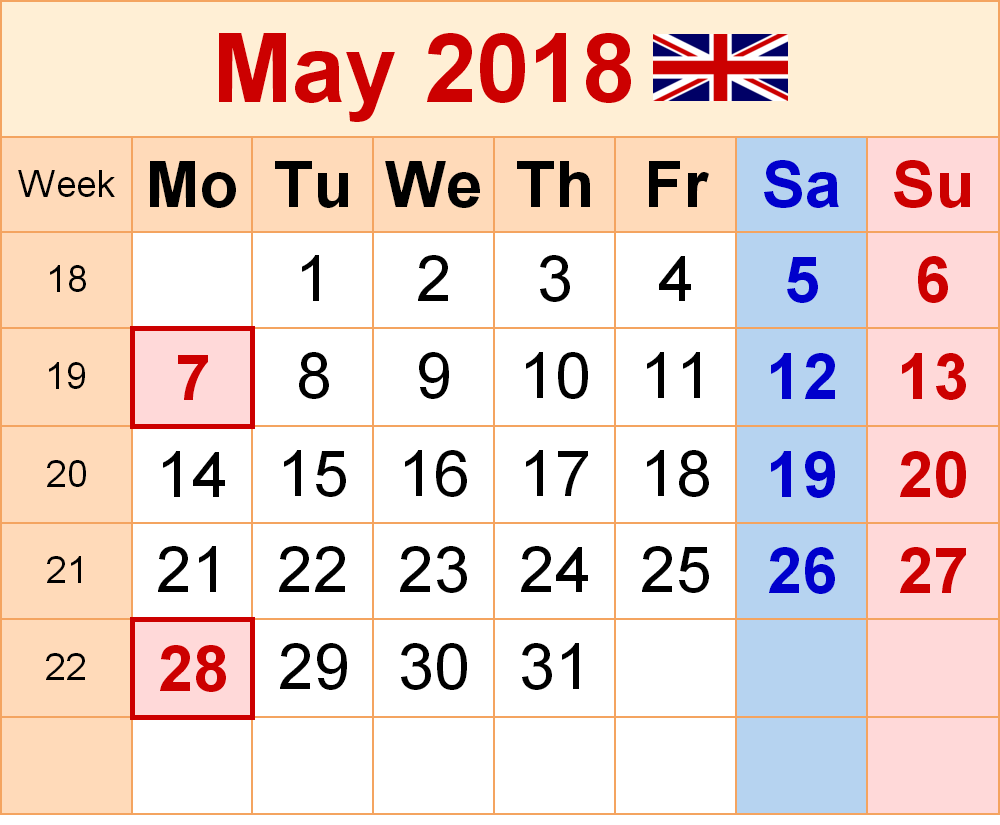 May 2018 Calendar UK (United Kingdom)