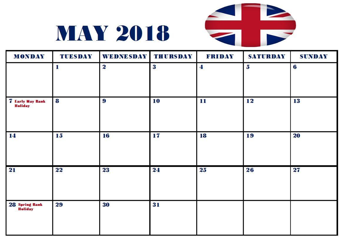 Calendar May 2018 UK