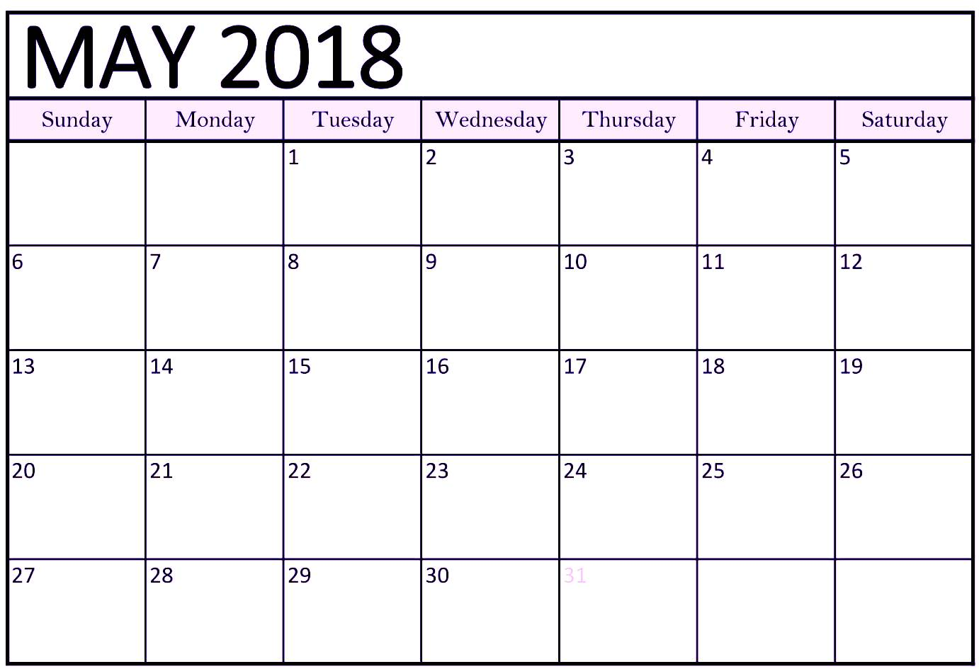 May 2018 Calendar US With Holidays