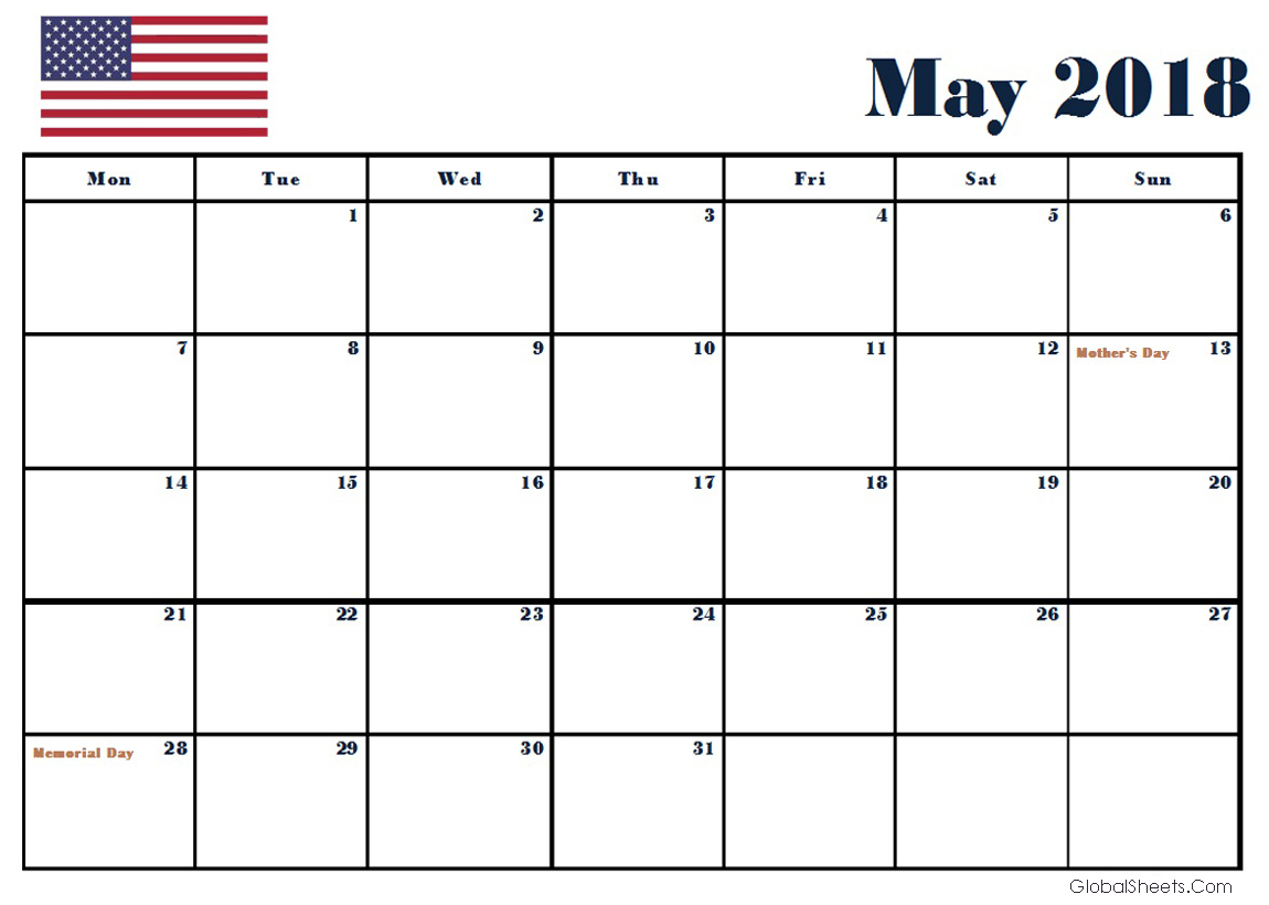May 2018 Calendar USA Holidays