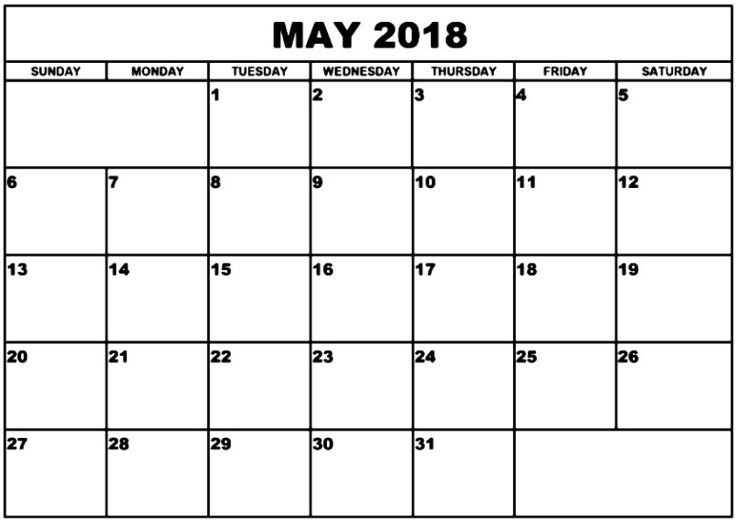 May 2018 Calendar USA With Notes