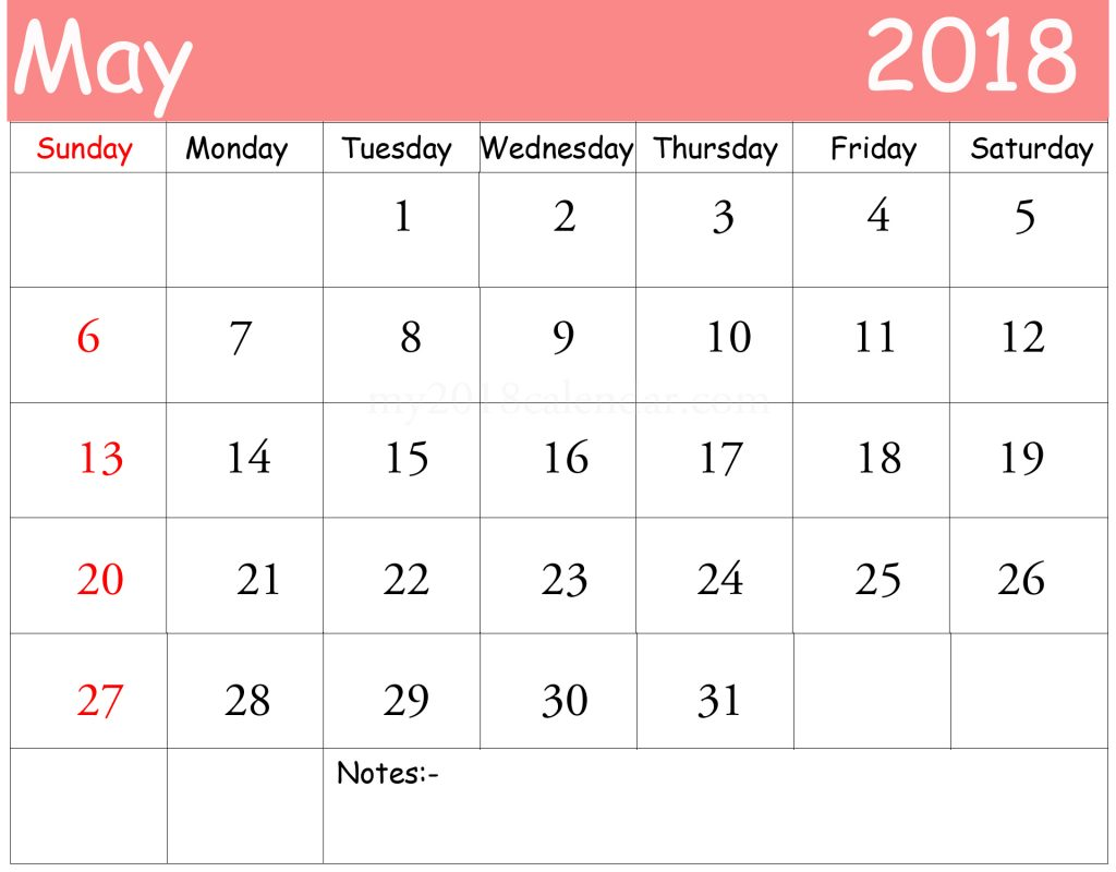 May 2018 Calendar Vertical with Notes