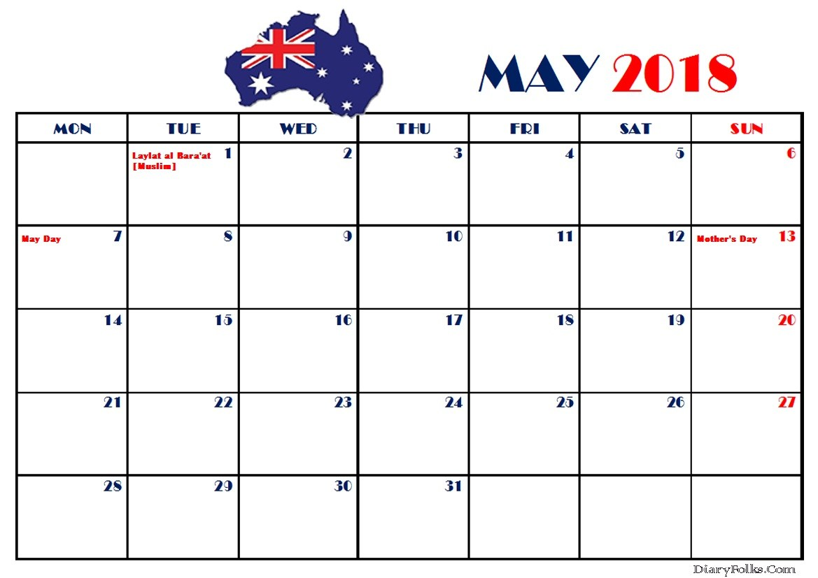 May 2018 Calendar With Holidays Australia, New Zealand, France, UAE
